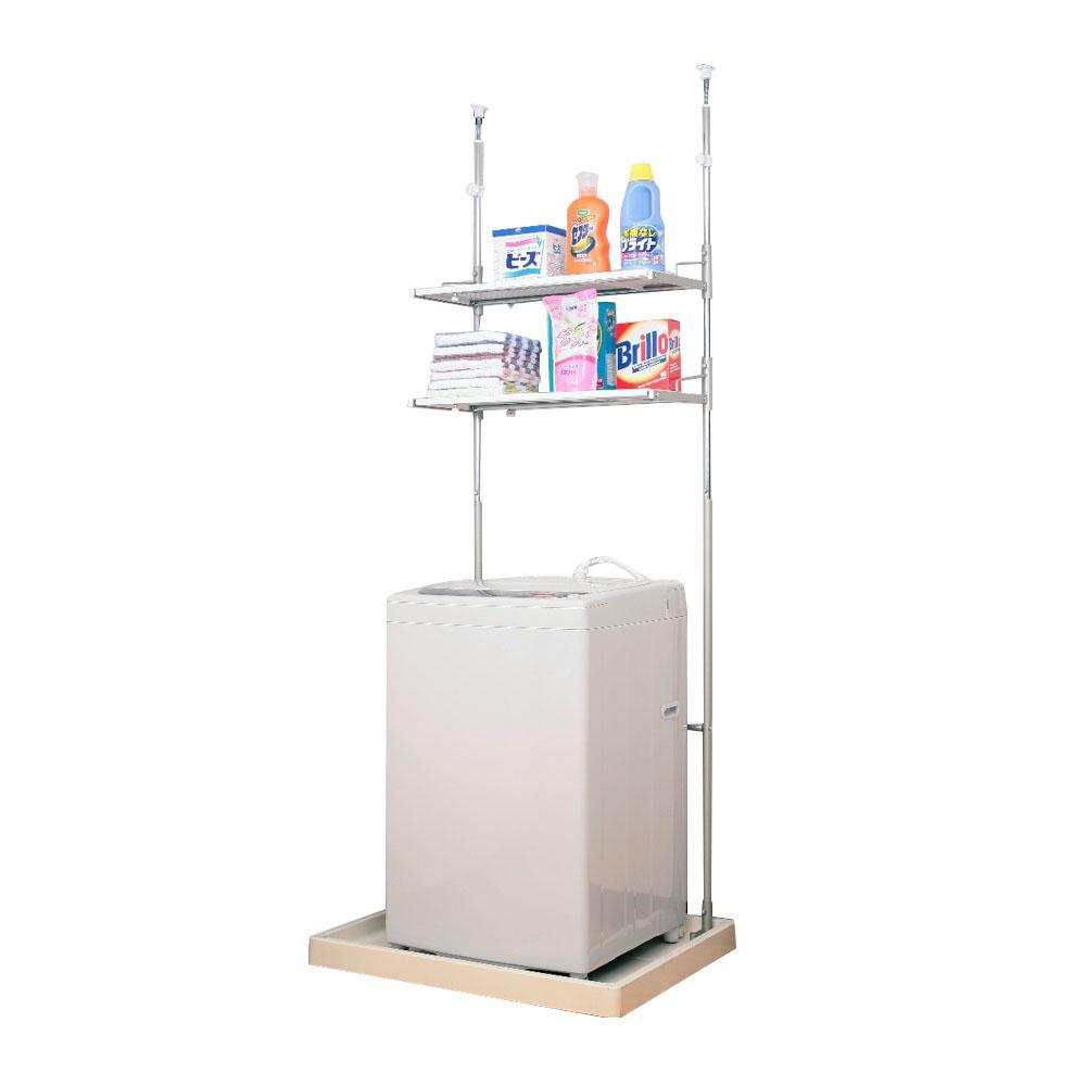 収納 伸縮式 洗濯機上収納82600 省スペースランドリーラック 棚2段【送料無料】