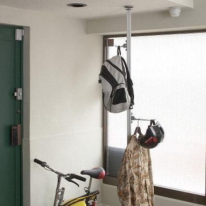 衣類 天井 突っ張りM7216 縦型つっぱりポールセット ラフィット(フック大1個・小1個付) Aセット シルバー【送料無料】
