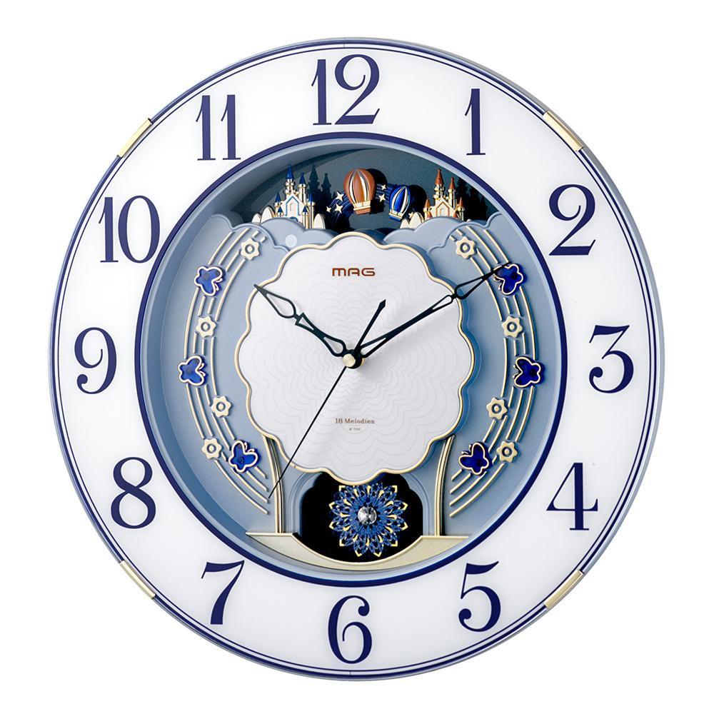 壁掛け時計 ウォールクロック 電波時計MAG電波報時掛時計 ルネッタ ブルー W-726 BU【送料無料】