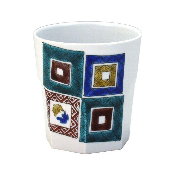 九谷焼 泰作 ロックカップ(白九) 石畳 N124-09【送料無料】
