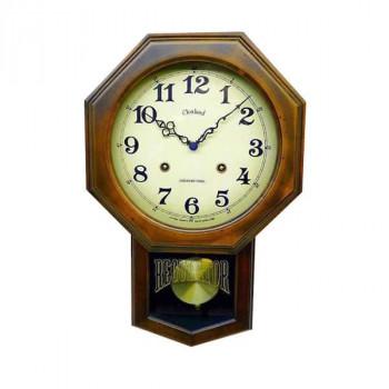 手作り 日本製 ブラウンアンティーク電波振り子時計(8角型) DQL624【送料無料】
