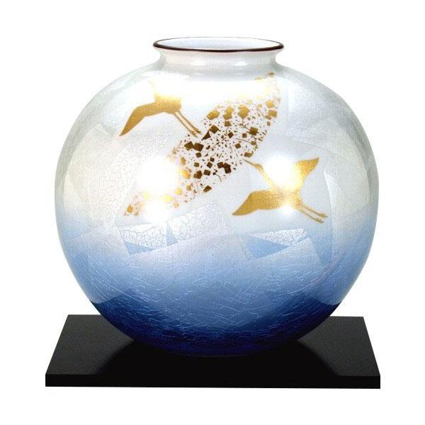 九谷焼 宗秀作 8号花瓶 銀彩金鶴 N175-07【送料無料】