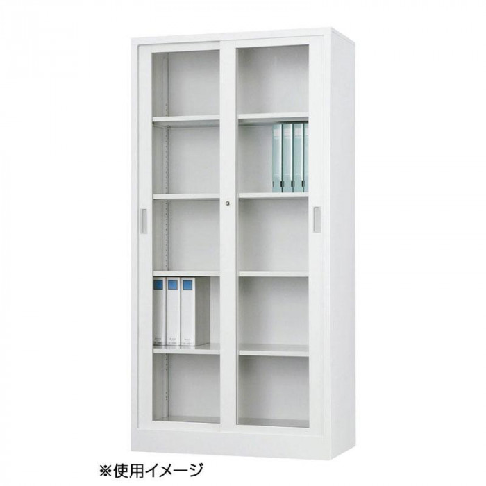 豊國工業 36深型ガラス引戸書庫 TS-36DG CN-85色(ホワイトグレー)【送料無料】