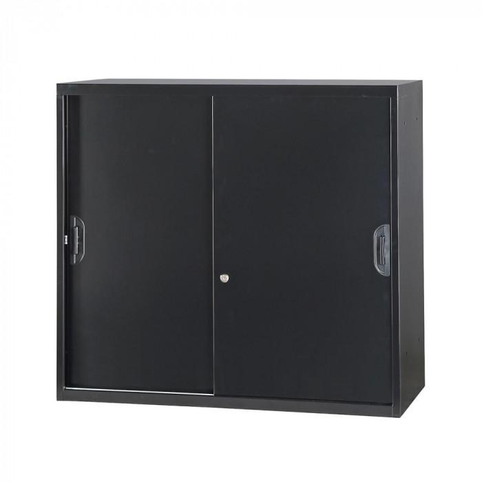 豊國工業 コンビネーション収納庫引き違い 棚板1枚付 ブラック NHS-H11-B サテンブラック【送料無料】