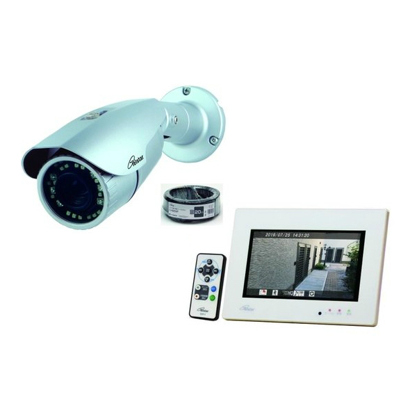AHD屋外用カメラ 20mケーブル モニター付SDレコーダーのセット コロナ電業 TELSTAR AHD2.0 最新号掲載アイテム 屋外カメラ 代引き不可 セット 新作入荷 TR-H215CVZ 監視カメラ DVF-7AHD 防犯カメラ モニター一体型SDレコーダー