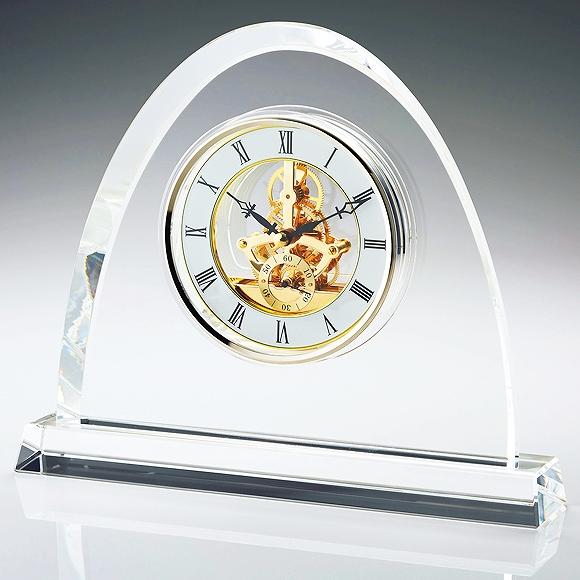 置き時計 置時計 ガラス 鳴海 クリスタル デスク 大型 高級 応接間 会社 周年 退職祝い 就任祝い 記念品送料無料 内祝い 引き出物 贈答品 記念品 ガラス置き時計「オーバル」 (NSGW1000-11071)【10P01Oct16】