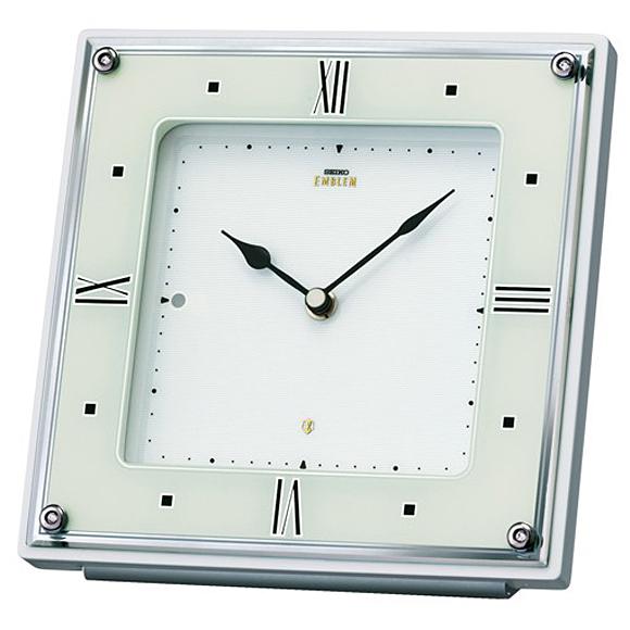 【 送料無料 】SEIKO(セイコー) EMBLEM 置き時計 電波時計 アナログ 石枠 HW586W