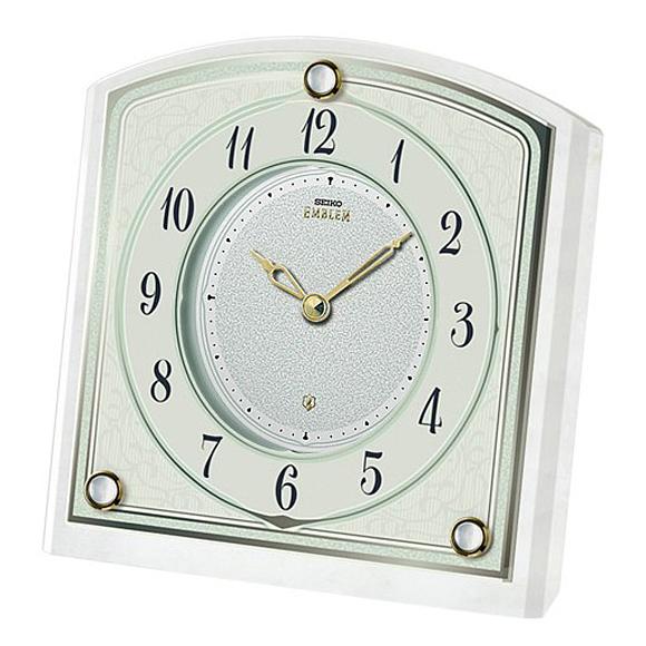 【 送料無料 】SEIKO(セイコー) EMBLEM 置き時計 クォーツ時計 アナログ 石枠 HW588W