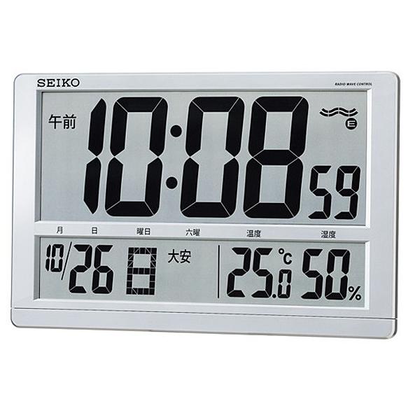 【 送料無料 】SEIKO(セイコー) 掛け時計 電波時計 デジタル 大型液晶 SQ433S