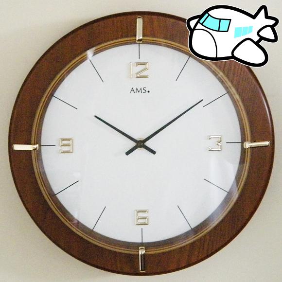 【ポイントアップ中&割引クーポン配布中】掛け 掛時計 時計 丸 ドイツ 高級 木 木製 会社 ロビー オフィス 医院 病院 開院祝い リビング ギフト 新築祝い 開店祝い 周年 記念品 AMS エイエムエス アームス (AMS-W9432)【10P01Oct16】