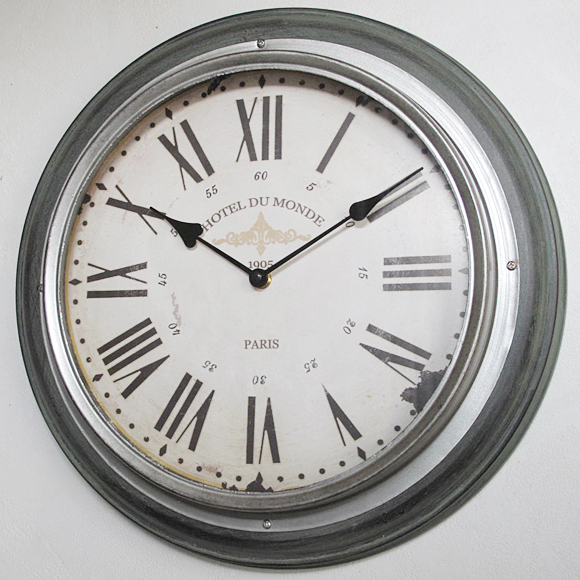 Wall Clock Og Large Antique Roman Numeral Silver Rim Br 59