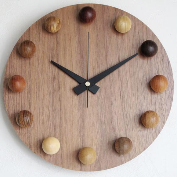 【ポイントアップ中&割引クーポン配布中】日本製 木製 掛け時計 アナログ スイープムーブメント 天然木 「ビーズクロック」 (DP-BEADS11)