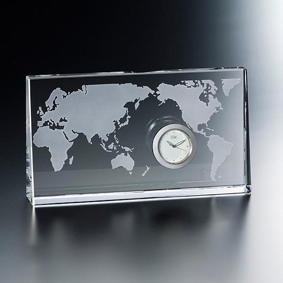 置き時計 置時計 ガラス 鳴海 クリスタル デスク 高級 応接間 会社 周年 退職祝い 就任祝い 記念品送料無料 内祝い 引き出物 贈答品 記念品 ガラス時計「ワールド」 (NSGW1000-11074)【10P01Oct16】