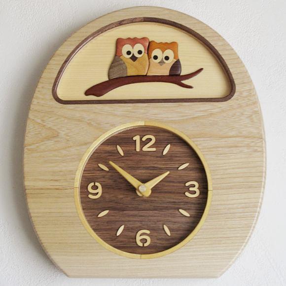 奉呈 ポイントアップ中 割引クーポン配布中 掛け時計 木製時計 ふくろう 寄せ木 置き時計 掛置兼用 別倉庫からの配送 PK-MK-1