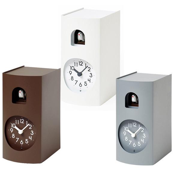 Lemnos レムノス 掛け時計 アナログ カッコー時計 鳩時計 掛置兼用 「ブックゥ」 (GF17-04)