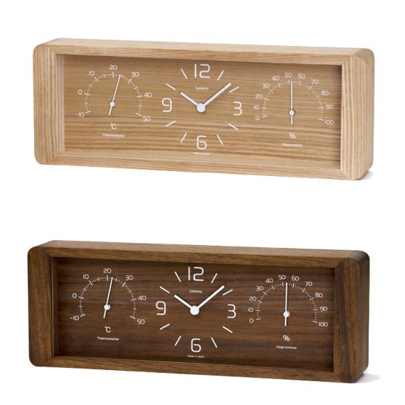 【ポイントアップ中&割引クーポン配布中】Lemnos レムノス 置き時計 アナログ 温度計 湿度計 「ヨーカン」 (LC11-06) *ブラウン9月中旬入荷予定