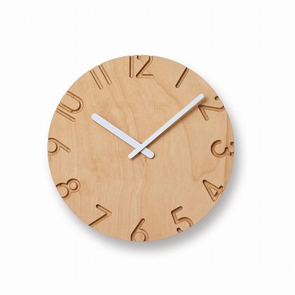 Lemnos レムノス 掛け時計 木製 アナログ 「カーヴド ウッドパーチ」 (NTL16-04)