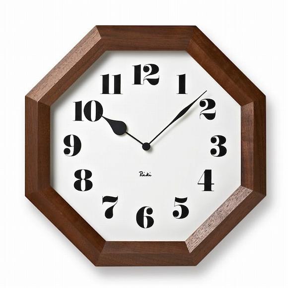 Lemnos レムノス 掛け時計 木製 RIKI 渡辺力 八角形 風水 (TL-WR11-01)