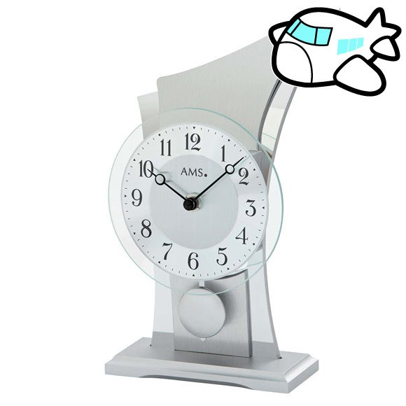 AMS 置き時計 振り子時計 置時計 シルバー ドイツ製 AMS1138 納期1ヶ月程度 (YM-AMS1138) *次回3月上旬から販売受付開始