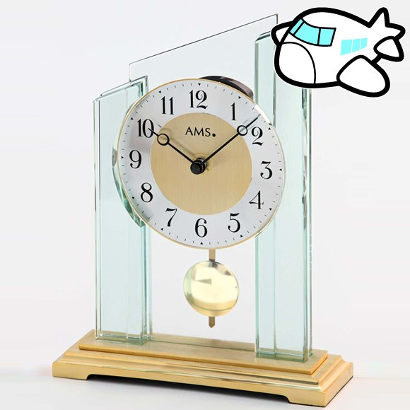 AMS1167 30%OFF Delivery Date 3 4 Weeks (YM AMS1167) Made In AMS Table Clock  Pendulum Clock Table Clock Glass Gold Germany