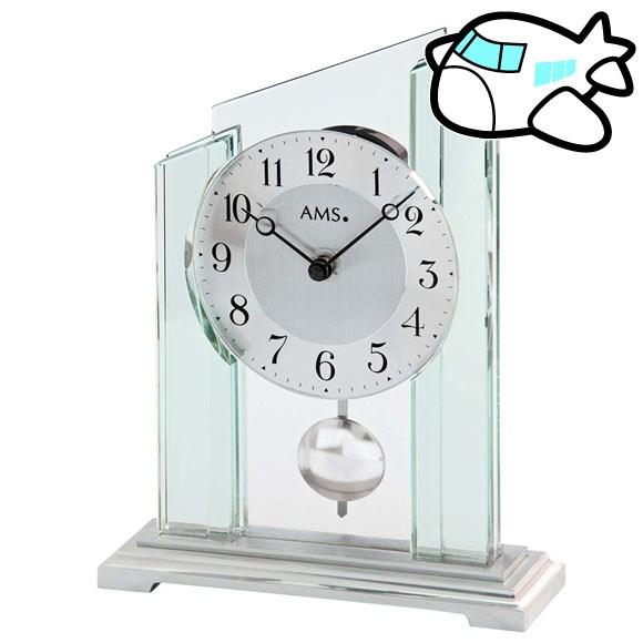 AMS 置き時計 振り子時計 置時計 ガラス 銀 ドイツ製 AMS1168 納期1ヶ月程度 (YM-AMS1168)