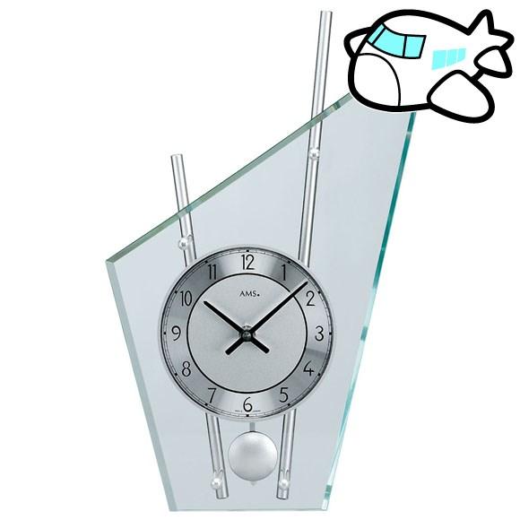 AMS 置き時計 振り子時計 置時計 ガラス シルバー ドイツ製 AMS153 納期1ヶ月程度 (YM-AMS153)