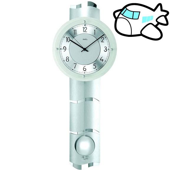 AMS 掛け時計 振り子時計 アナログ シルバー ドイツ製 AMS5215 納期1ヶ月程度 (YM-AMS5215)