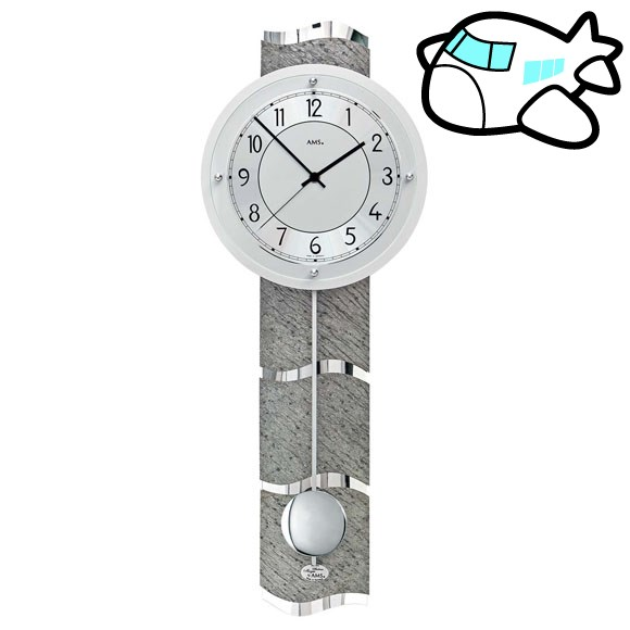 AMS 掛け時計 振り子時計 アナログ シルバー ドイツ製 AMS5216 納期1ヶ月程度 (YM-AMS5216)
