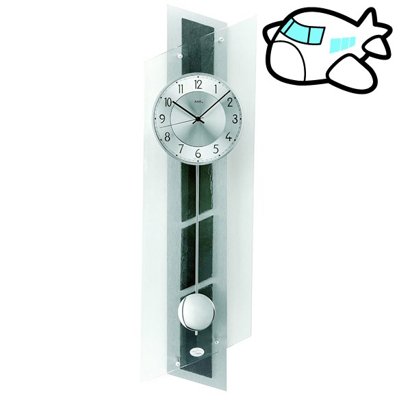 AMS 掛け時計 振り子時計 アナログ シルバー ドイツ製 AMS5217 納期1ヶ月程度 (YM-AMS5217)