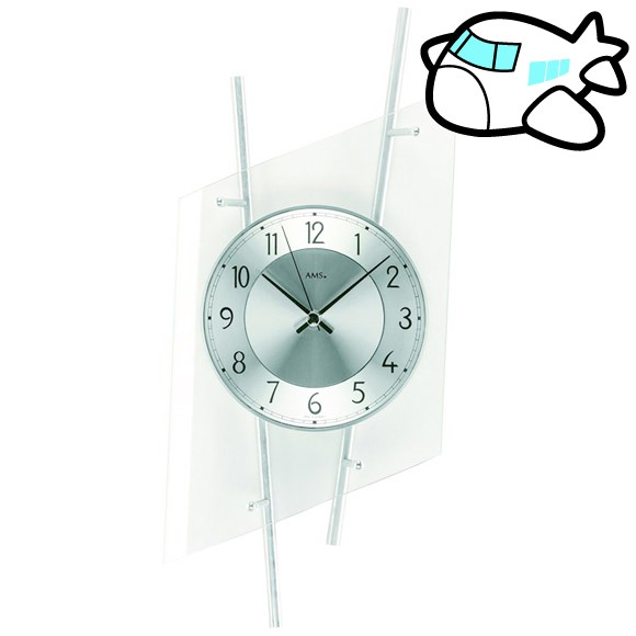 AMS 掛け時計 アナログ シルバー ドイツ製 AMS5882 納期1ヶ月程度 (YM-AMS5882)