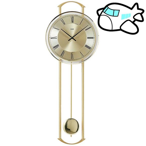 【ポイントアップ中&割引クーポン配布中】AMS 掛け時計 振り子時計 おしゃれ モダン クール ゴールド ドイツ製 AMS7083 納期1ヶ月程度 (YM-AMS7083)