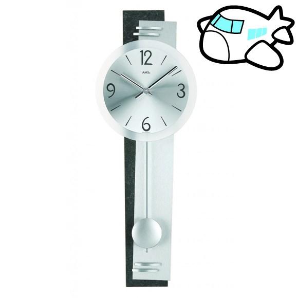 AMS 掛け時計 振り子時計 アナログ シルバー ドイツ製 AMS7255 納期1ヶ月程度 (YM-AMS7255)