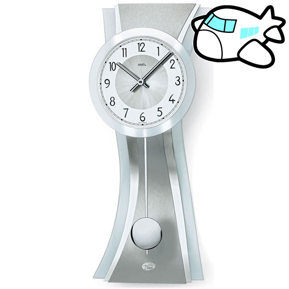 【ポイントアップ中&割引クーポン配布中】AMS 掛け時計 振り子時計 アナログ シルバー ドイツ製 AMS7268 納期1ヶ月程度 (YM-AMS7268)