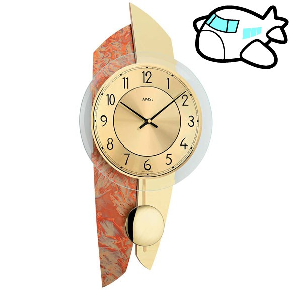AMS 掛け時計 振り子時計 アナログ ゴールド ドイツ製 AMS7407 30%OFF 納期1~2ヶ月 (YM-AMS7407)