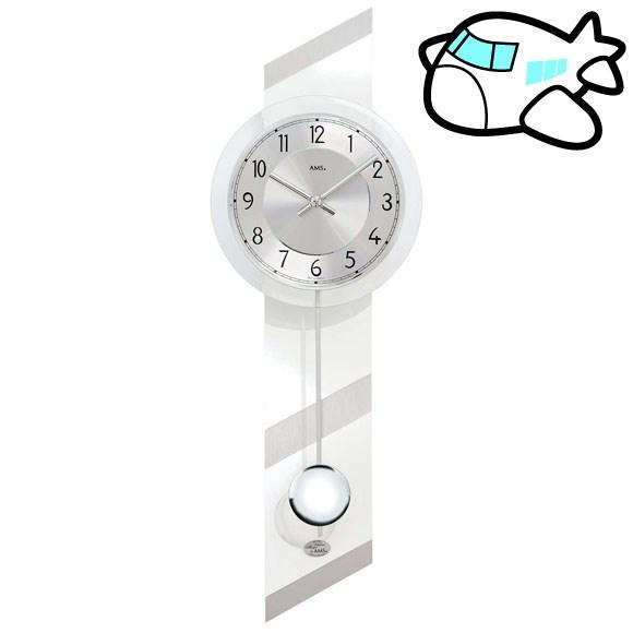 AMS 掛け時計 振り子時計 アナログ シルバー ドイツ製 AMS7414 納期1ヶ月程度 (YM-AMS7414)