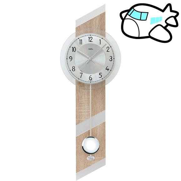 AMS 掛け時計 振り子時計 アナログ シルバー ドイツ製 AMS7415 納期1ヶ月程度 (YM-AMS7415)