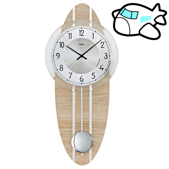 AMS 掛け時計 振り子時計 アナログ シルバー ドイツ製 AMS7420 納期1ヶ月程度 (YM-AMS7420)