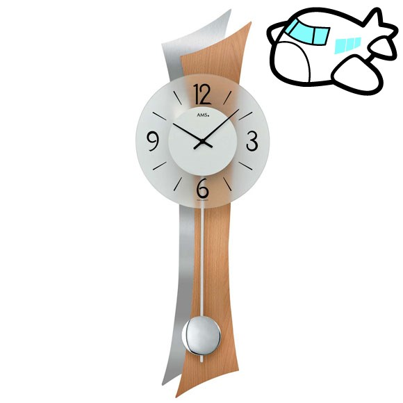 AMS 掛け時計 振り子時計 アナログ シルバー ドイツ製 AMS7425 納期1ヶ月程度 (YM-AMS7425)