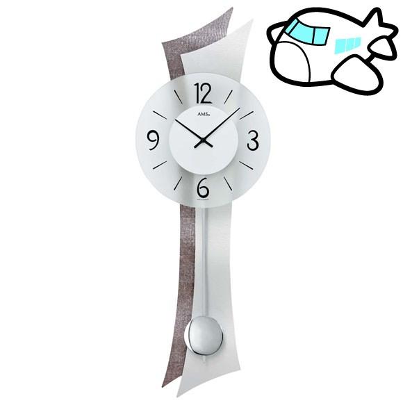 【ポイントアップ中&割引クーポン配布中】AMS 掛け時計 振り子時計 アナログ シルバー ドイツ製 AMS7426 納期1ヶ月程度 (YM-AMS7426)