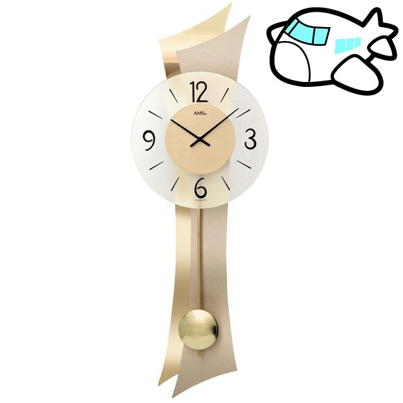 AMS 掛け時計 振り子時計 アナログ ゴールド ドイツ製 AMS7427 納期1ヶ月程度 (YM-AMS7427)