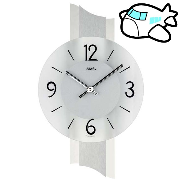 AMS 掛け時計 アナログ シルバー おしゃれ ドイツ製 AMS9394 納期1ヶ月程度 (YM-AMS9394)