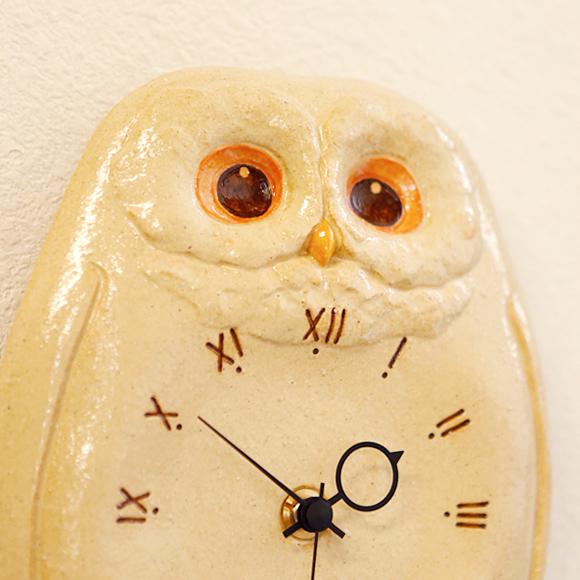 振り子時計 掛け時計 フクロウ 陶器 アナログ 日本製 掛時計 (CY-Y9707)