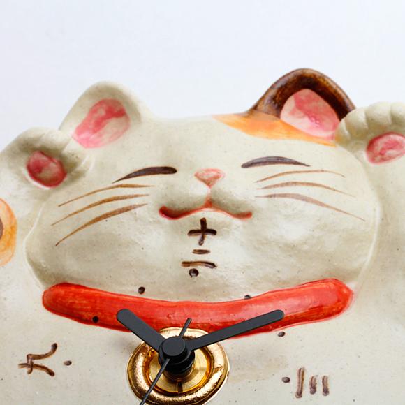 アナログ 陶器 日本製 子猫 掛け時計 (CY-Y9772) 福々招き猫 風水 掛時計