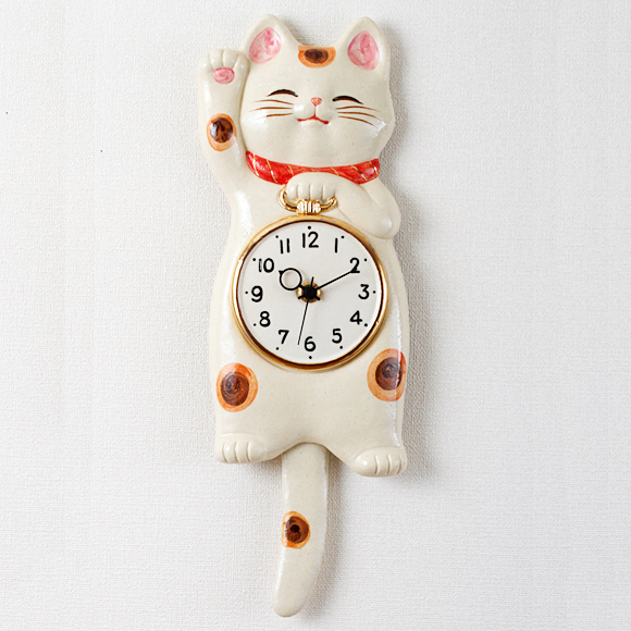 掛け時計 振り子時計 アナログ 招き猫 かわいい 陶器 ハンドメイド 日本製 和室 福福 新築祝い 開店祝い (CY-Y9845-A)