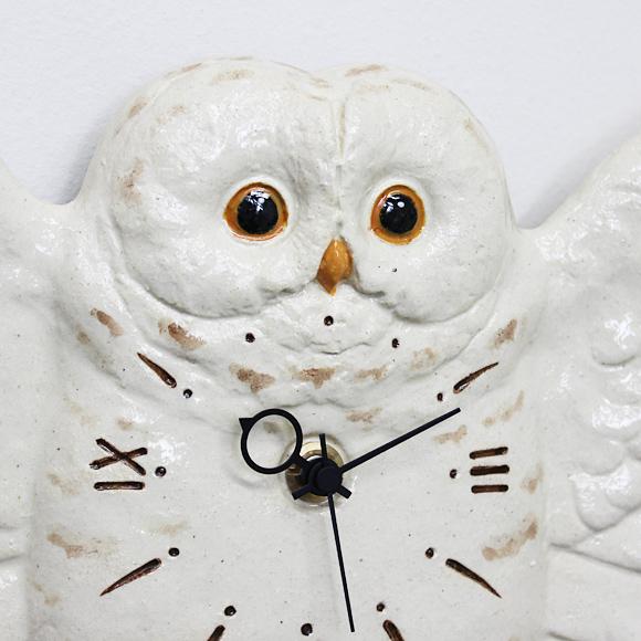 振り子時計 フクロウ 日本製 陶器 白ふくろう アナログ 掛け時計 羽ばたき (CY-Y9861)
