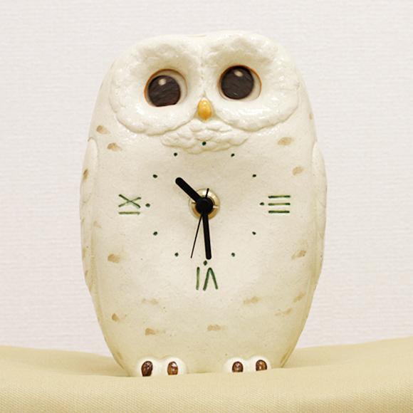 置き時計 フクロウ 日本製 陶器 アナログ 白フクロウ 見守り 置時計 (CY-Y9862)