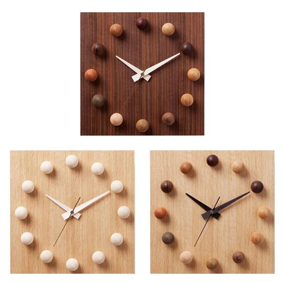 掛け時計 日本製 木製 四角 天然木 アナログ スイープムーブメント 天然木 ビーズクロック (DP-BEADS12)