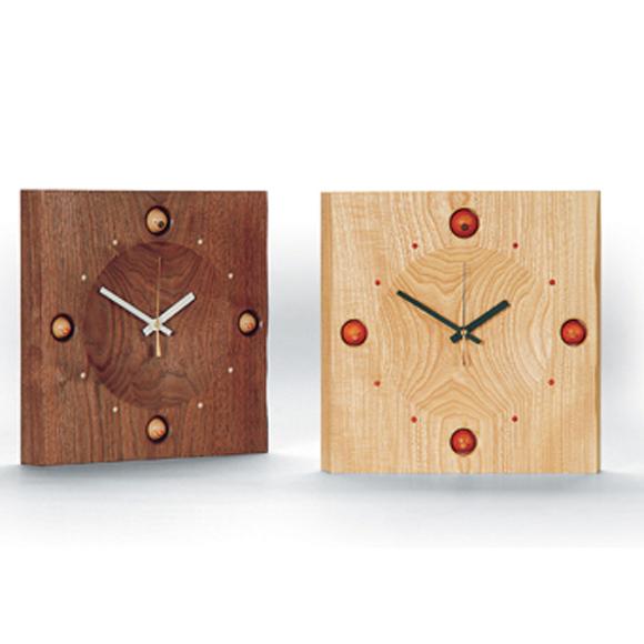 掛け時計 天然木 日本製 木製 四角 夢九鳥時計〔ムクドリ時計〕 (DP-KAKU4)