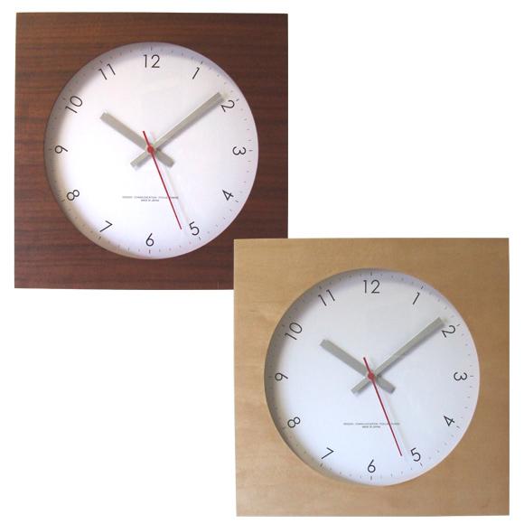 掛け時計 四角 木製時計 メープル/ウォールナットの時計 25cm角 スイープムーブメント 日本製 (FO-V0023)
