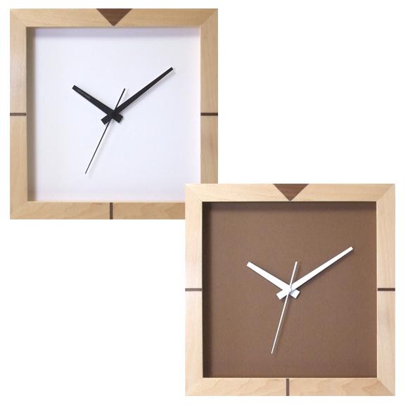 掛け時計 四角 スイープ秒針 シンプル 正方形 木製 スクエアエッジクロック 日本製 (FO-V0034)